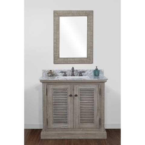 Infurniture Rustic-style Wood 36-inch Single-sink Bathroom Vanity with Carrera White Marble Top