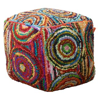 LR Home Circles Multicolored Indoor Pouf Ottoman
