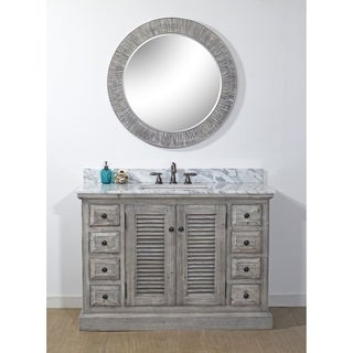Infurniture Distressed Driftwood Wood 48-inch Rustic-style Single-sink Bathroom Vanity with Carrara White Top