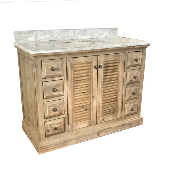 Shop infurniture distressed driftwood wood 48 inch rustic - 48 inch white bathroom vanity with top ...