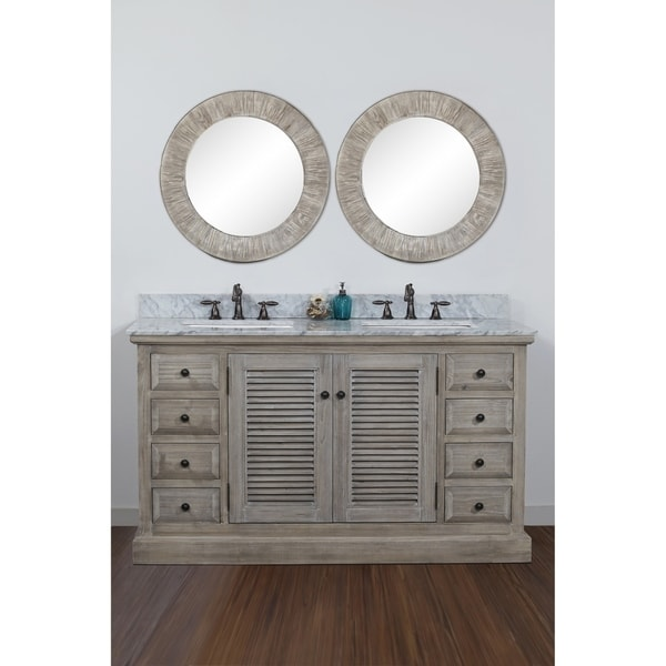 Rustic Carrera White Top 60-inch Double Sink Bathroom Vanity