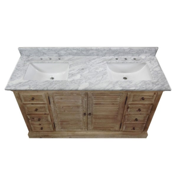 Rustic Carrera White Top 60 Inch Double Sink Bathroom Vanity