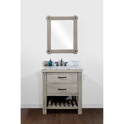 Infurniture Rustic Style Driftwood Finish Ceramic 30-inch Single Sink Bathroom Vanity