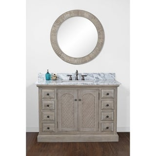 Rustic 48-inch Single Sink Bathroom Vanity in Driftwood Finish with Carara White Marble Top Rectangular Sink- No Faucet