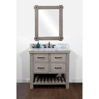 infurniture distressed driftwood 36inch rusticstyle singlesink bathroom vanity
