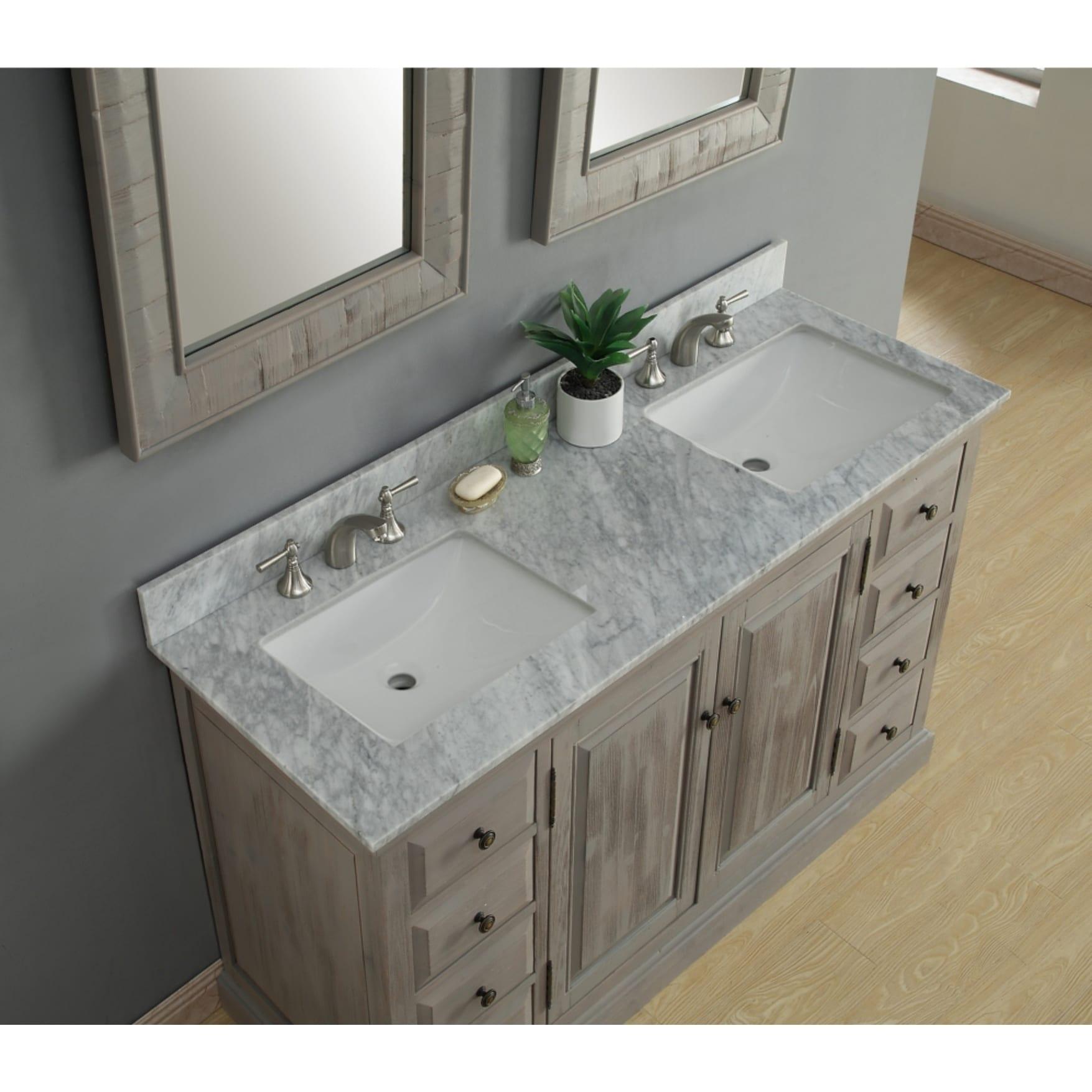 carrera white mable-top 60-inch single-sink bathroom