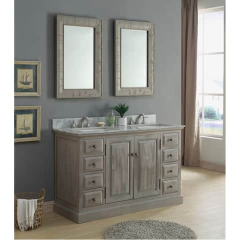Carrera White Mable-top 60-inch Single-sink Bathroom Vanity