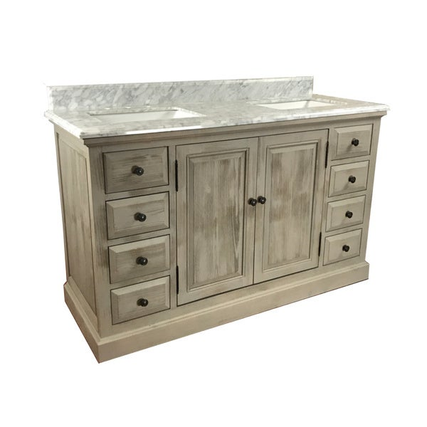 Shop Carrera White Mable Top 60 Inch Single Sink Bathroom Vanity Free Shipping Today