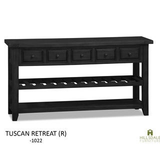 Hillsdale Furniture Tuscan Retreat Weathered Grey Wood Wine Rack Hall Table with 5 Drawers