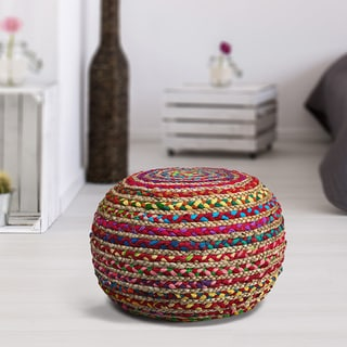 LR Home Multicolored Cotton 20 Inch X 14 Inch Indoor Pouf