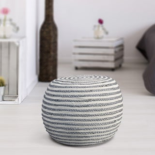 LR Home Pouf Grey/White Indoor Pouf Ottoman