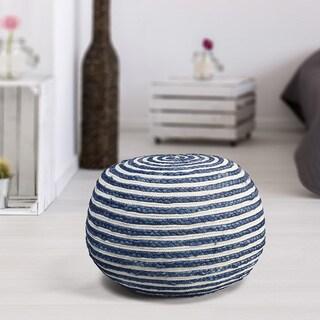 LR Home Blue/White Indoor Pouf Ottoman