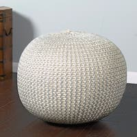 "LR Home Fairbanks Bone Silver Knitted Pouf Ottoman (1'4"" x 1'8"")"