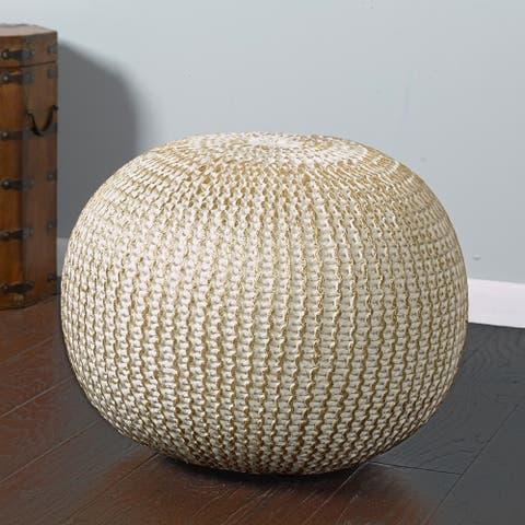 LR Home Fairbanks Bone Gold Knitted Pouf Ottoman