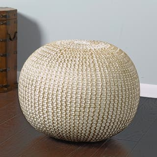 LR Home Bone Gold Round Hand Knitted Pouf Ottoman Option Poufs And