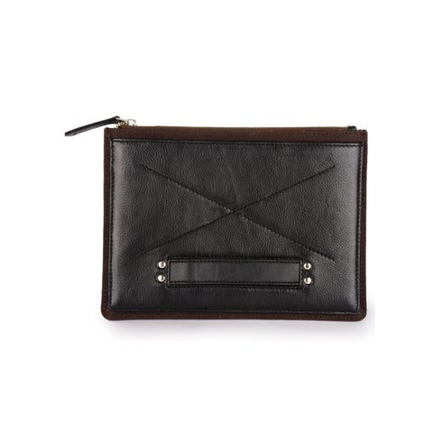 Handmade Phive Rivers Men's Leather Ipad Sleeve (Black and Brown) (Italy)
