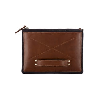 Handmade Phive Rivers Men's Leather Ipad Sleeve (Navy and Tan) (Italy)