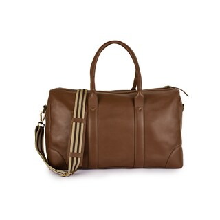 Phive Rivers Men's Leather Travel Duffel Bag (Tan)
