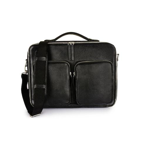 Handmade Phive Rivers Men's Leather Messenger Bag (Black) (Italy)