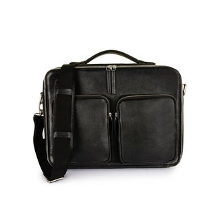 Phive Rivers Men's Leather Messenger Bag (Black)