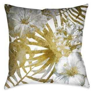 Laural Home Golden Tropical Ferns I Outdoor/Indoor Decorative Pillow
