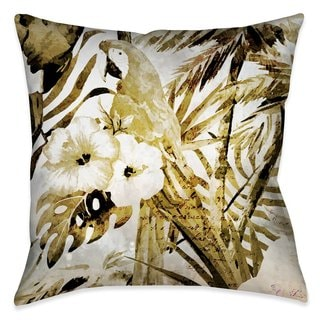Laural Home Gold Macaw and Ferns Outdoor/Indoor Decorative Pillow