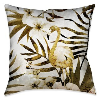 Laural Home Gold Flamingo and Ferns Outdoor Decorative Pillow