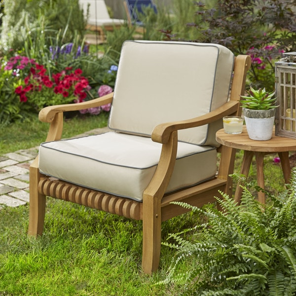 Kokomo Teak Lounge Chair Cushion Set With Sunbrella Fabric