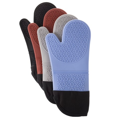 Windsor Home Silicone Oven Mitts with Quilted Lining and 2-sided Textured Grip