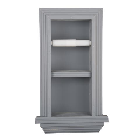 Solid Wood Recessed in wall Bathroom Double Toilet Paper Holder with Ledge-Multiple Finishes