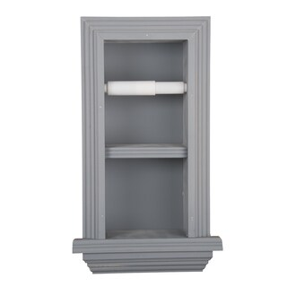Solid Wood Recessed in wall Bathroom Double Toilet Paper Holder with Ledge-Multiple Finishes (3 options available)