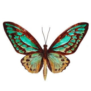 Aqua And Gold Butterfly Wall Decor