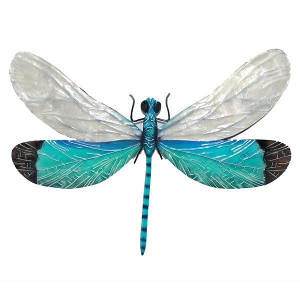 White And Aqua Dragonfly Wall Decor