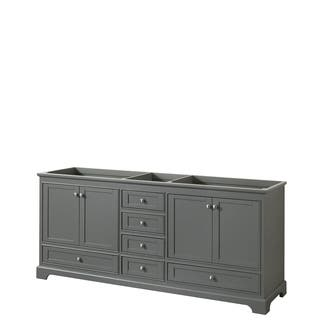 bathroom vanity grey. Wyndham Collection Deborah 80 inch Double Bathroom Vanity with No Mirror Grey Vanities  Cabinets For Less Overstock com