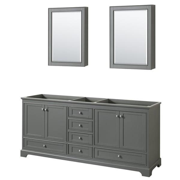 Wyndham Collection Deborah 80-inch Double Bathroom Vanity with Medicine Cabinets