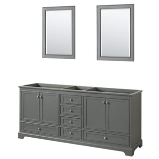 Wyndham Collection Deborah 80-inch Double Bathroom Vanity with 24-inch Mirrors