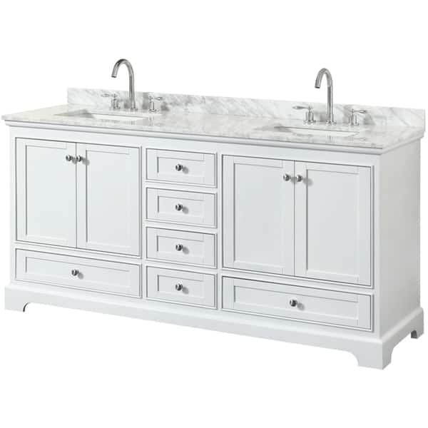 Wyndham Collection 72 Double Bathroom Vanity In White White Carrara Marble Countertop Square Undermount Sinks No Mirror Overstock 16342192