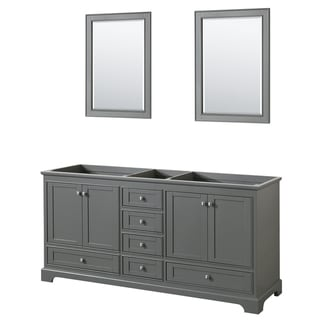 "Wyndham Collection 72"" Double Bathroom Vanity in Dark Gray, No Countertop, No Sinks, and 24"" Mirrors"