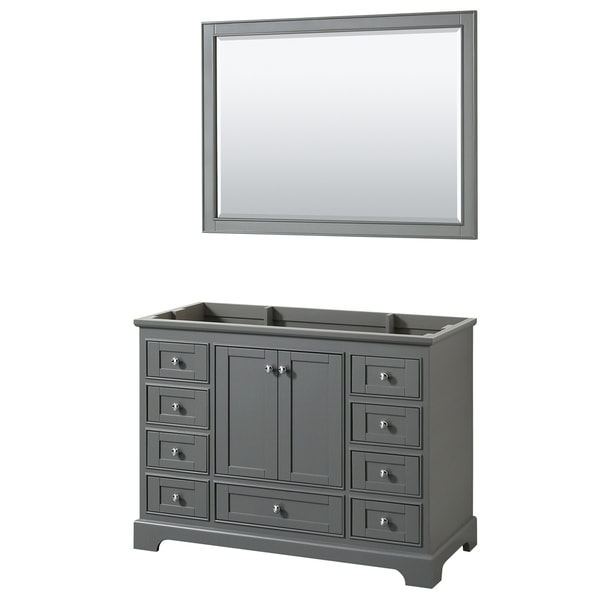 "Wyndham Collection 48"" Single Bathroom Vanity in Dark Gray, White Marble Countertop, Square Undermount Sink, and 46"" Mirror"