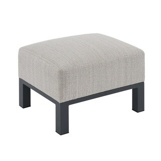 Madison Park Lenox Beige Multi/ Dark Grey Outdoor Ottoman
