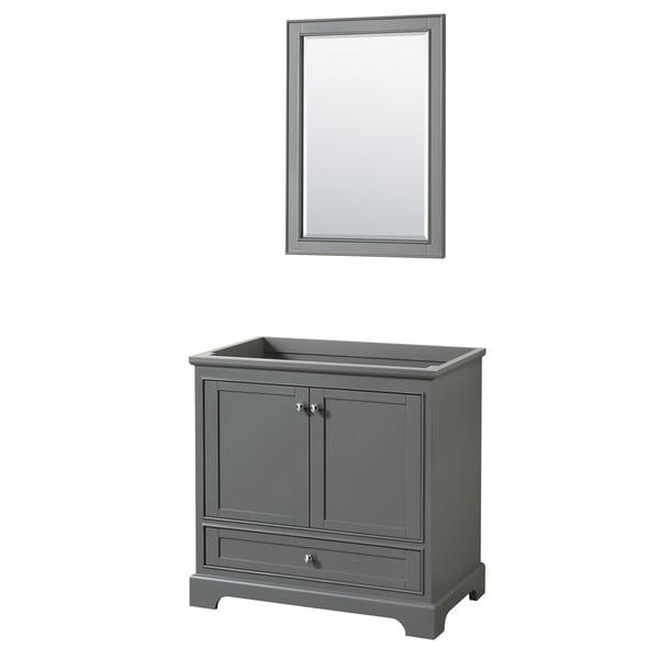 """Wyndham Collection 36"""" Single Bathroom Vanity in Dark Gray, No Countertop, No Sink, and 24"""" Mirror"""