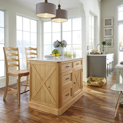 Pine Canopy Sequoia Kitchen Island and Stools
