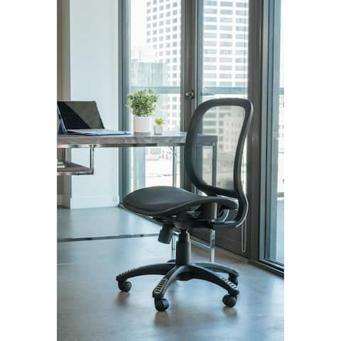 ErgoMax Office Fully Meshed Ergonomic Height Adjustable Black Office Chair no Armrests & no Headrest, 42 Inch Max Height