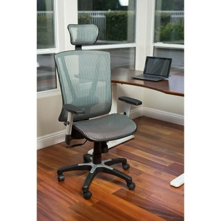 ErgoMax Office Fully Meshed Ergonomic Height Adjustable Grey Office Chair w/Armrests & Headrest, 52 Inch Max Height