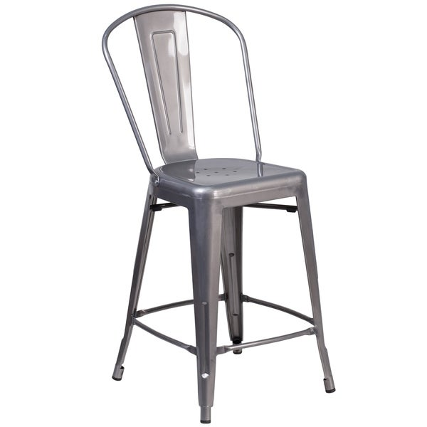 Shop 24 High Indoor Counter Height Stool With Back Free Shipping