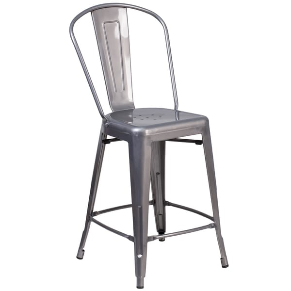 24 Inch High Indoor Counter Height Stool With Back