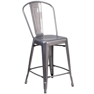 24-inch High Indoor Counter Height Stool with Back