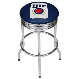 Miller Lite Chrome Ribbed Bar Stool - Minimalist Can