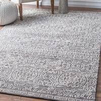 nuLOOM Contemporary Intricate Floral Petal Trellis Grey Rug (5' x 8') - 5' x 8'