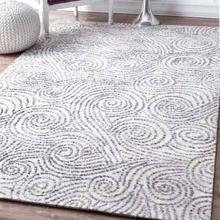 nuLOOM Contemporary Abstract Sea Breeze Swirls Ivory Rug (5' x 8')